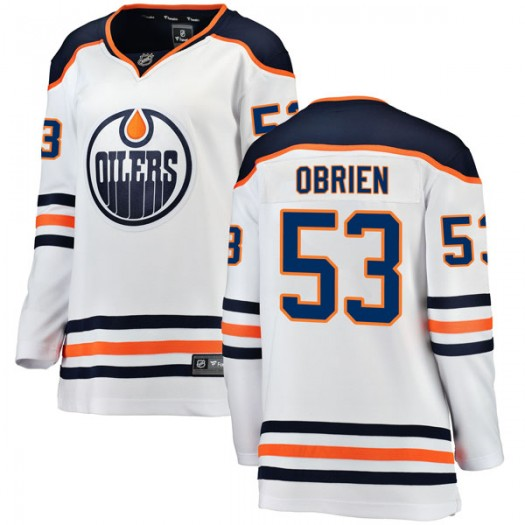 Zach Obrien Edmonton Oilers Women's Fanatics Branded Authentic White Away Breakaway Jersey