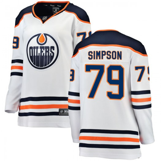 Dillon Simpson Edmonton Oilers Women's Fanatics Branded Authentic White Away Breakaway Jersey