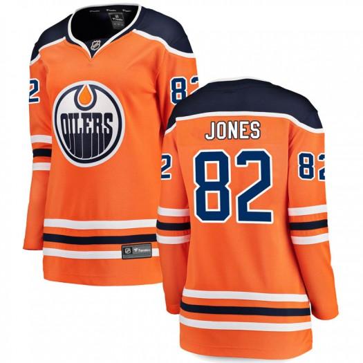 Caleb Jones Edmonton Oilers Women's Fanatics Branded Authentic Orange r Home Breakaway Jersey