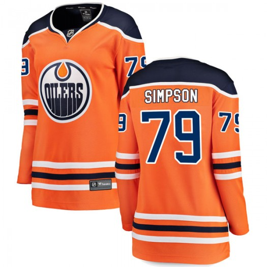 Dillon Simpson Edmonton Oilers Women's Fanatics Branded Authentic Orange r Home Breakaway Jersey