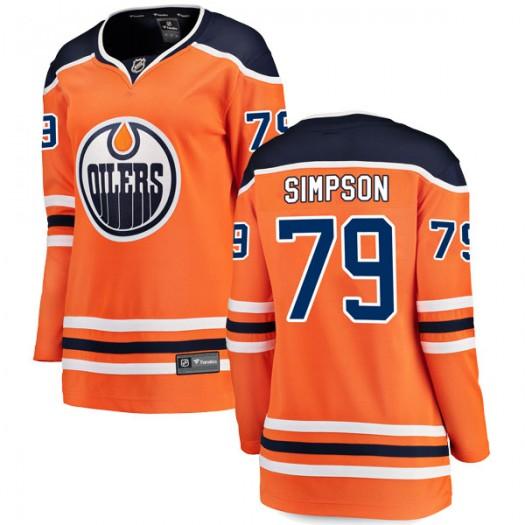 Dillon Simpson Edmonton Oilers Women's Fanatics Branded Authentic Orange r Home Breakaway Jersey