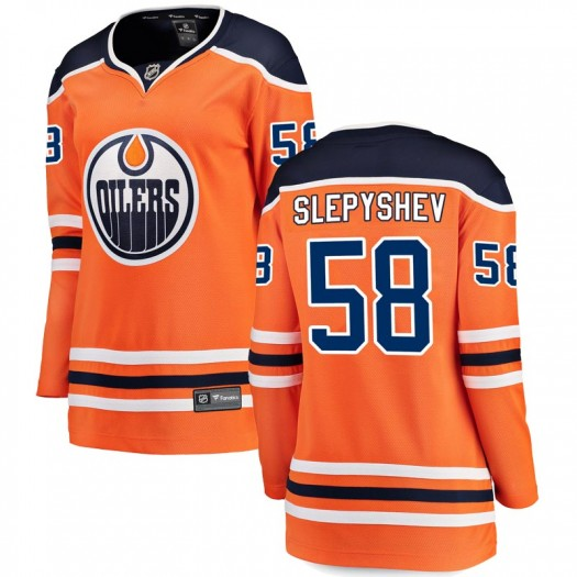Anton Slepyshev Edmonton Oilers Women's Fanatics Branded Authentic Orange r Home Breakaway Jersey