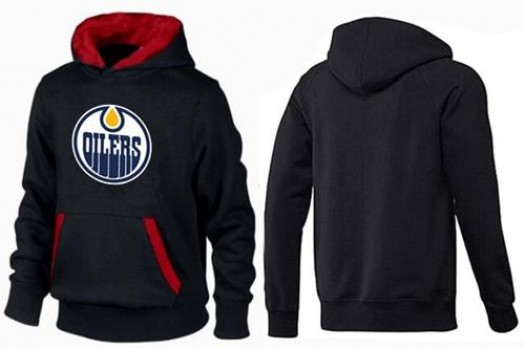 Edmonton Oilers Men's Black/Red Big & Tall Logo Pullover Hoodie