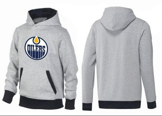 Edmonton Oilers Men's Black Big & Tall Logo Pullover HoodieGrey/