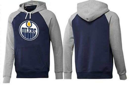 Edmonton Oilers Men's Grey Big & Tall Logo Pullover HoodieNavy/