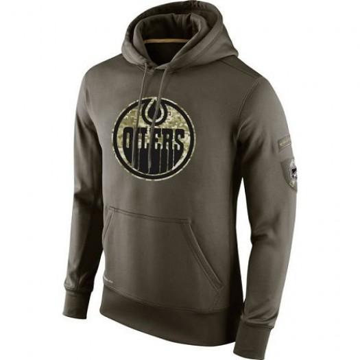 Edmonton Oilers Men's Nike Olive Salute To Service KO Performance Hoodie