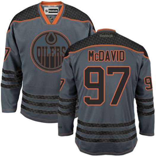 Connor McDavid Edmonton Oilers Men's Reebok Premier Charcoal Cross Check Fashion Jersey
