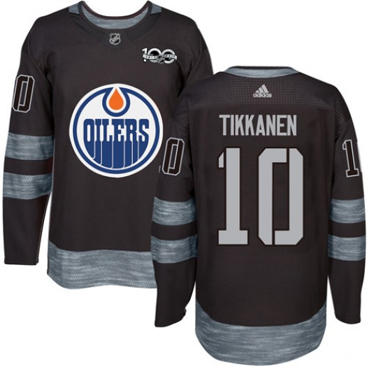 Esa Tikkanen Edmonton Oilers Men's Adidas Authentic Black 1917-2017 100th Anniversary Jersey