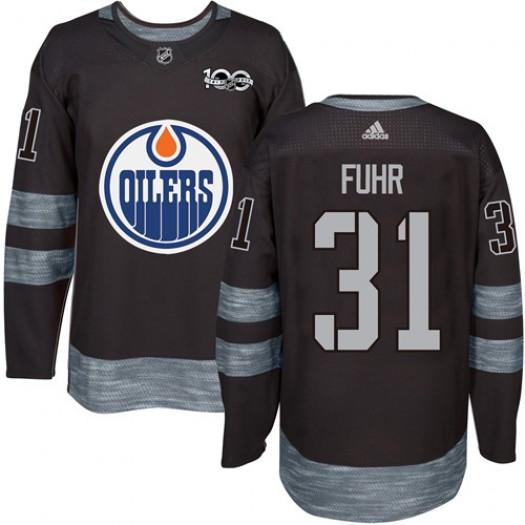 Grant Fuhr Edmonton Oilers Men's Adidas Premier Black 1917-2017 100th Anniversary Jersey