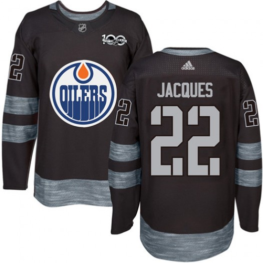 Jean-Francois Jacques Edmonton Oilers Men's Adidas Authentic Black 1917-2017 100th Anniversary Jersey