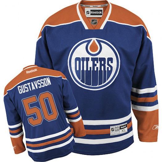 Jonas Gustavsson Edmonton Oilers Men's Reebok Authentic Royal Blue Home Jersey