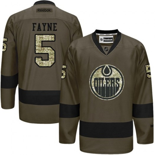 Mark Fayne Edmonton Oilers Men's Reebok Authentic Green Salute to Service Jersey
