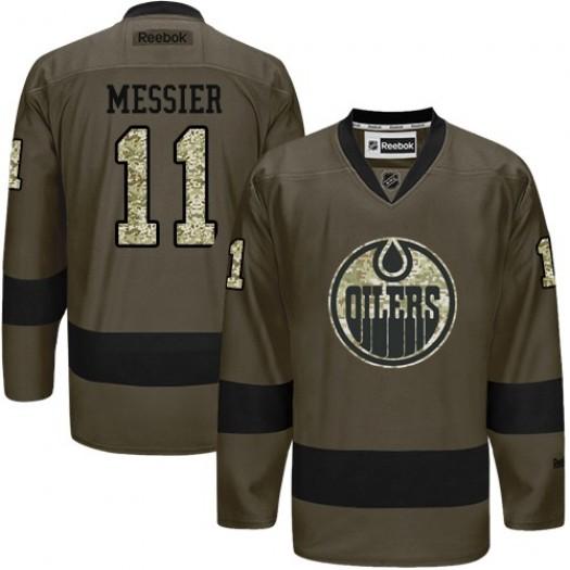 Mark Messier Edmonton Oilers Men's Reebok Premier Green Salute to Service Jersey