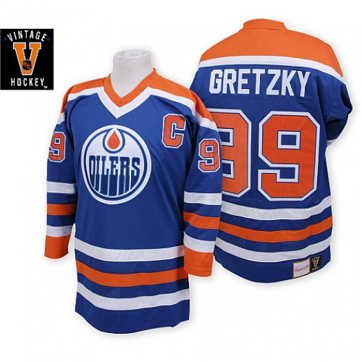 Wayne Gretzky Edmonton Oilers Men's Mitchell and Ness Premier Navy Blue Throwback Jersey