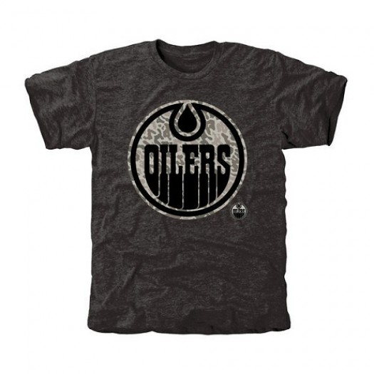 Edmonton Oilers Men's Black Rink Warrior Tri-Blend T-Shirt