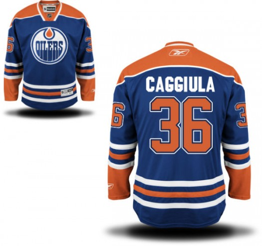 Drake Caggiula Edmonton Oilers Men's Reebok Premier Royal Blue Home Jersey