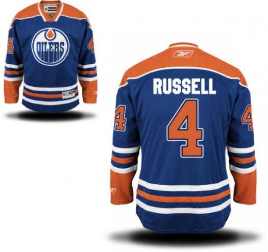 Kris Russell Edmonton Oilers Youth Reebok Replica Royal Blue Home Jersey