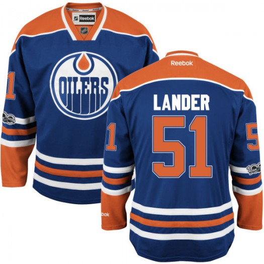 Anton Lander Edmonton Oilers Youth Reebok Premier Royal Home Centennial Patch Jersey