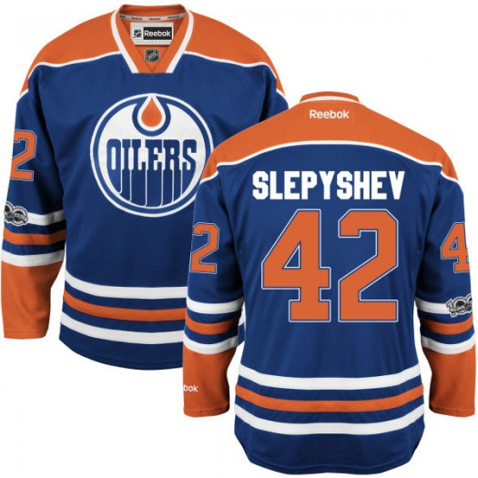 Anton Slepyshev Edmonton Oilers Youth Reebok Authentic Royal Home Centennial Patch Jersey