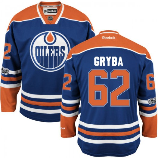 Eric Gryba Edmonton Oilers Youth Reebok Authentic Royal Home Centennial Patch Jersey