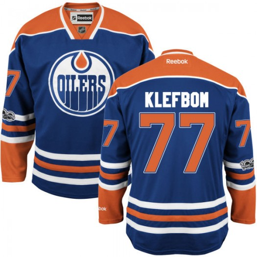 Oscar Klefbom Edmonton Oilers Youth Reebok Authentic Royal Home Centennial Patch Jersey