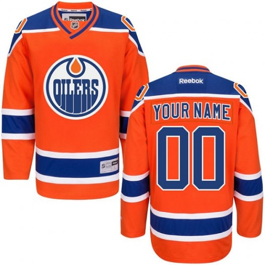 Youth Reebok Edmonton Oilers Customized Premier Orange Third Jersey