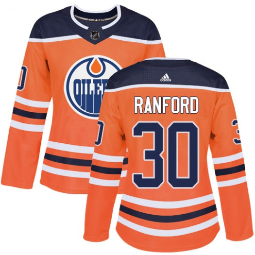 Bill Ranford Edmonton Oilers Women's Adidas Authentic Orange Home Jersey