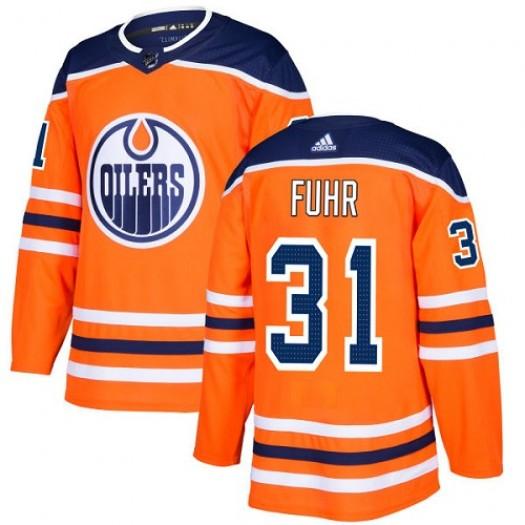 Grant Fuhr Edmonton Oilers Men's Adidas Premier Orange Home Jersey