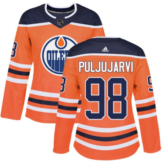 Jesse Puljujarvi Edmonton Oilers Women's Adidas Authentic Orange Home Jersey
