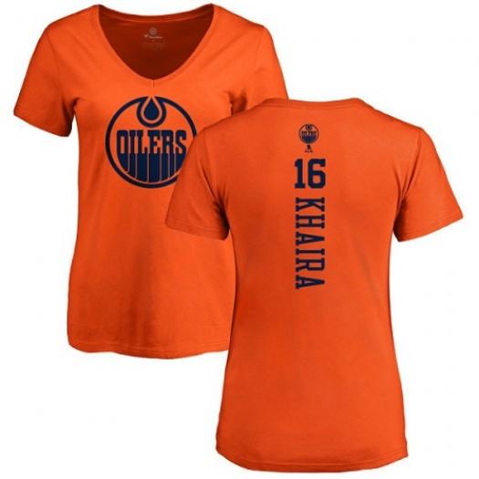 Jonas Gustavsson Edmonton Oilers Women's Adidas Premier Orange Home Jersey