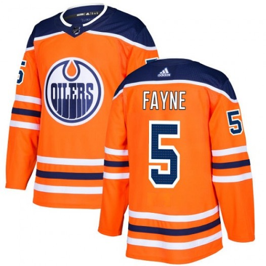 Mark Fayne Edmonton Oilers Youth Adidas Authentic Orange Home Jersey