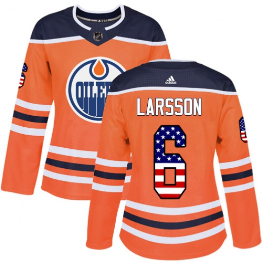 Adam Larsson Edmonton Oilers Women's Adidas Authentic Orange USA Flag Fashion Jersey