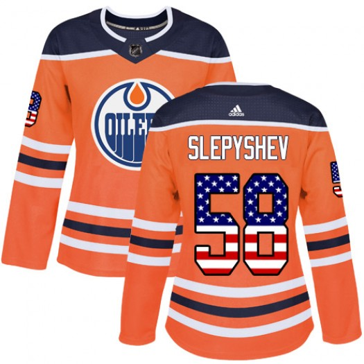 Anton Slepyshev Edmonton Oilers Women's Adidas Authentic Orange USA Flag Fashion Jersey