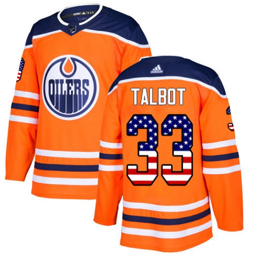Cam Talbot Edmonton Oilers Men's Adidas Authentic Orange USA Flag Fashion Jersey