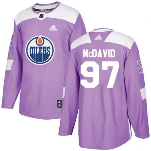 Connor McDavid Edmonton Oilers Youth Adidas Authentic Purple Fights Cancer Practice Jersey