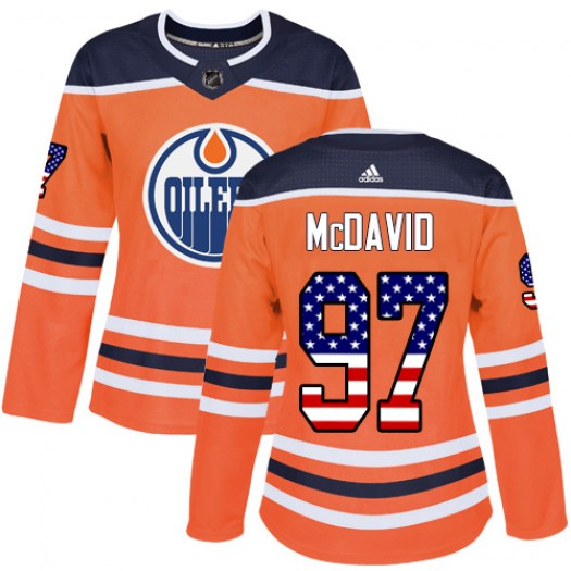 Connor McDavid Edmonton Oilers Women's Adidas Authentic Orange USA Flag Fashion Jersey