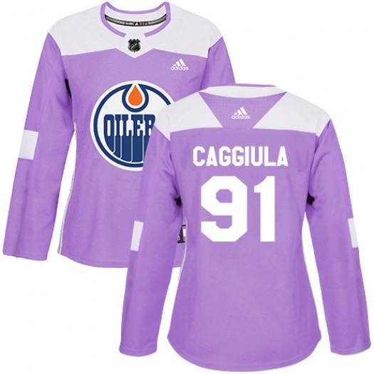 Drake Caggiula Edmonton Oilers Women's Adidas Authentic Purple Fights Cancer Practice Jersey