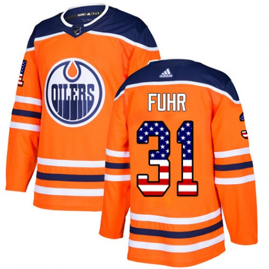 Grant Fuhr Edmonton Oilers Youth Adidas Authentic Orange USA Flag Fashion Jersey