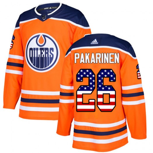 Iiro Pakarinen Edmonton Oilers Youth Adidas Authentic Orange USA Flag Fashion Jersey