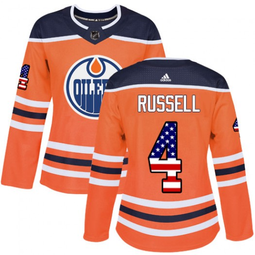 Jacob Trouba Edmonton Oilers Women's Adidas Authentic Orange USA Flag Fashion Jersey