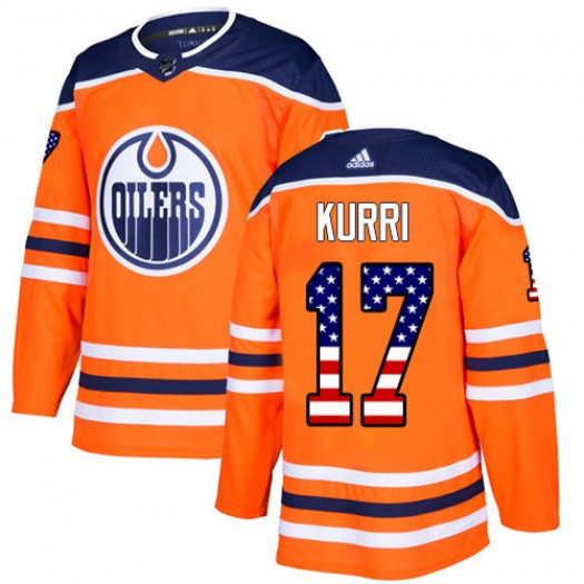 Jari Kurri Edmonton Oilers Men's Adidas Authentic Orange USA Flag Fashion Jersey