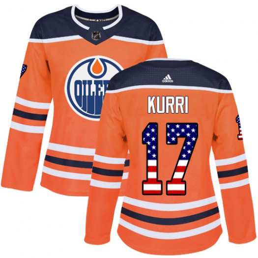 Jari Kurri Edmonton Oilers Women's Adidas Authentic Orange USA Flag Fashion Jersey