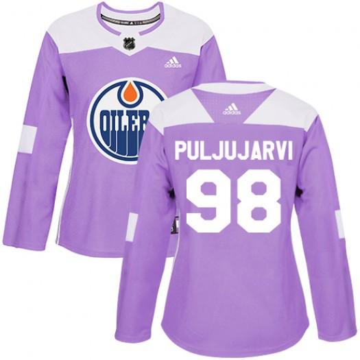 Jesse Puljujarvi Edmonton Oilers Women's Adidas Authentic Purple Fights Cancer Practice Jersey