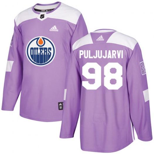 Jesse Puljujarvi Edmonton Oilers Youth Adidas Authentic Purple Fights Cancer Practice Jersey