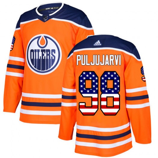 Jesse Puljujarvi Edmonton Oilers Youth Adidas Authentic Orange USA Flag Fashion Jersey