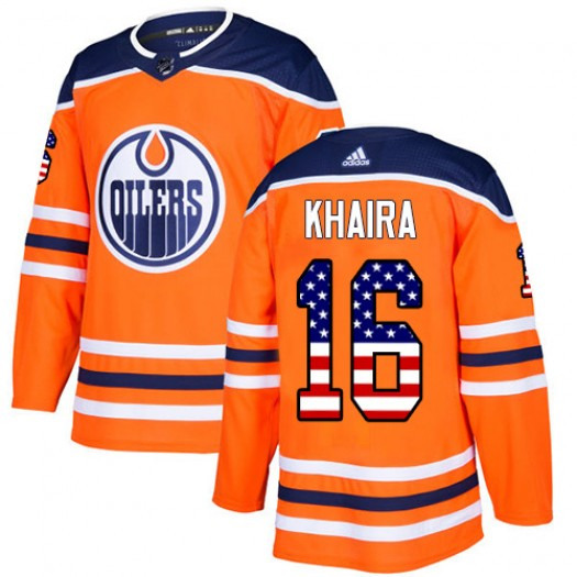 Jujhar Khaira Edmonton Oilers Men's Adidas Authentic Orange USA Flag Fashion Jersey