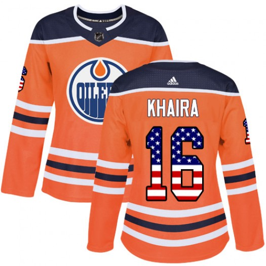 Jujhar Khaira Edmonton Oilers Women's Adidas Authentic Orange USA Flag Fashion Jersey