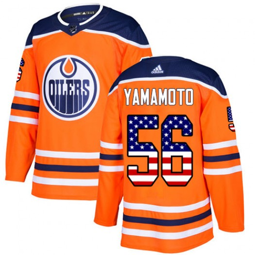 Kailer Yamamoto Edmonton Oilers Men's Adidas Authentic Orange USA Flag Fashion Jersey