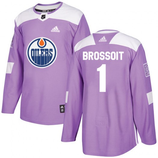 Laurent Brossoit Edmonton Oilers Men's Adidas Authentic Purple Fights Cancer Practice Jersey