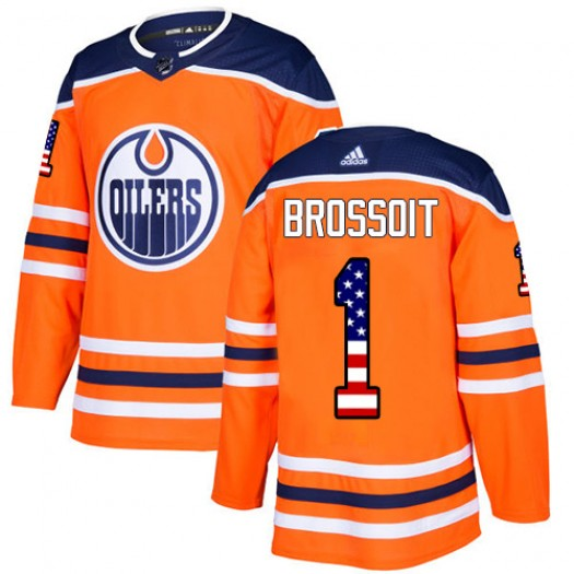 Laurent Brossoit Edmonton Oilers Men's Adidas Authentic Orange USA Flag Fashion Jersey